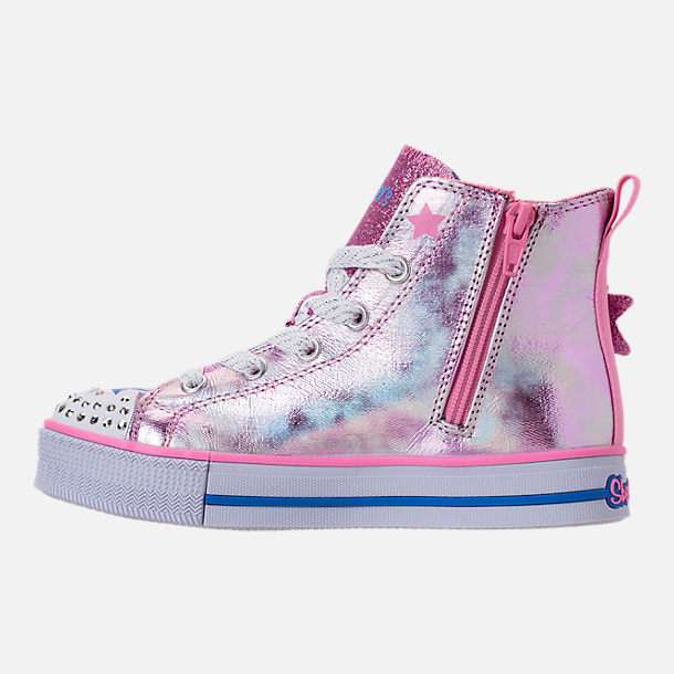 Left view of Girls' Preschool Skechers Twinkle Toes: Twinkle Lite Light-Up Casual Shoes in Pink/Silver Metallic