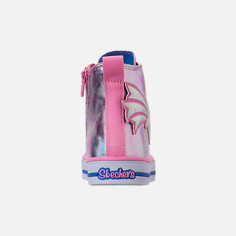 Back view of Girls' Little Kids' Skechers Twinkle Toes: Twinkle Lite Light-Up Casual Shoes in Pink/Silver Metallic