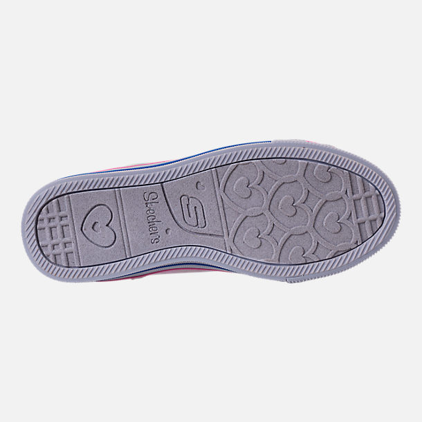Bottom view of Girls' Little Kids' Skechers Twinkle Toes: Twinkle Lite Light-Up Casual Shoes in Pink/Silver Metallic