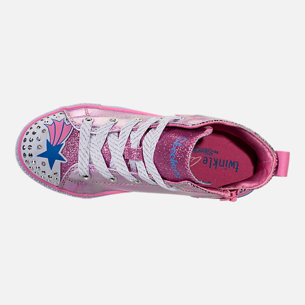 Top view of Girls' Little Kids' Skechers Twinkle Toes: Twinkle Lite Light-Up Casual Shoes in Pink/Silver Metallic