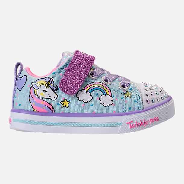 Right view of Girls' Toddler Skechers Twinkle Toes: Shuffles - Sparkle Lite Light-up Hook-and-Loop Casual Shoes in Light Blue/Multi Unicorn