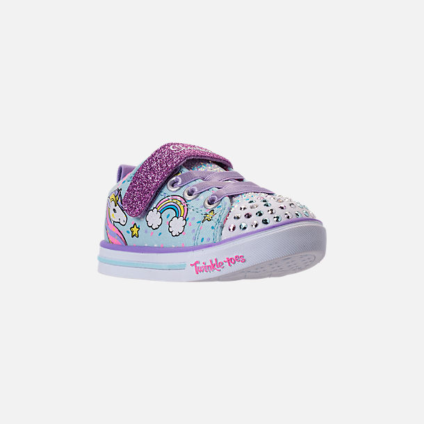 Three Quarter view of Girls' Toddler Skechers Twinkle Toes: Shuffles - Sparkle Lite Light-up Hook-and-Loop Casual Shoes in Light Blue/Multi Unicorn