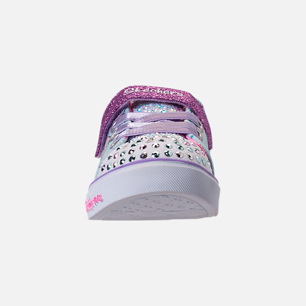 Front view of Girls' Toddler Skechers Twinkle Toes: Shuffles - Sparkle Lite Light-up Hook-and-Loop Casual Shoes in Light Blue/Multi Unicorn