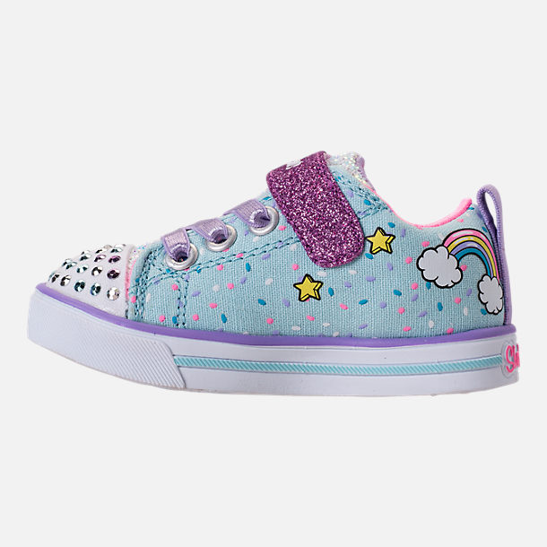 Left view of Girls' Toddler Skechers Twinkle Toes: Shuffles - Sparkle Lite Light-up Hook-and-Loop Casual Shoes in Light Blue/Multi Unicorn