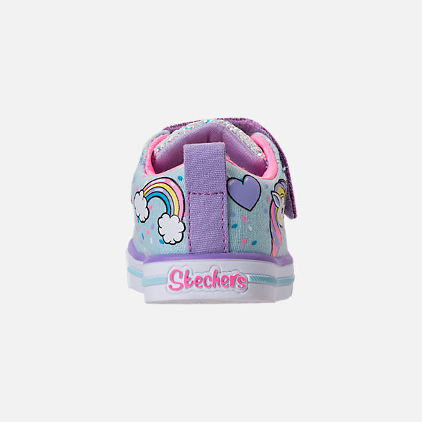 Back view of Girls' Toddler Skechers Twinkle Toes: Shuffles - Sparkle Lite Light-up Hook-and-Loop Casual Shoes in Light Blue/Multi Unicorn