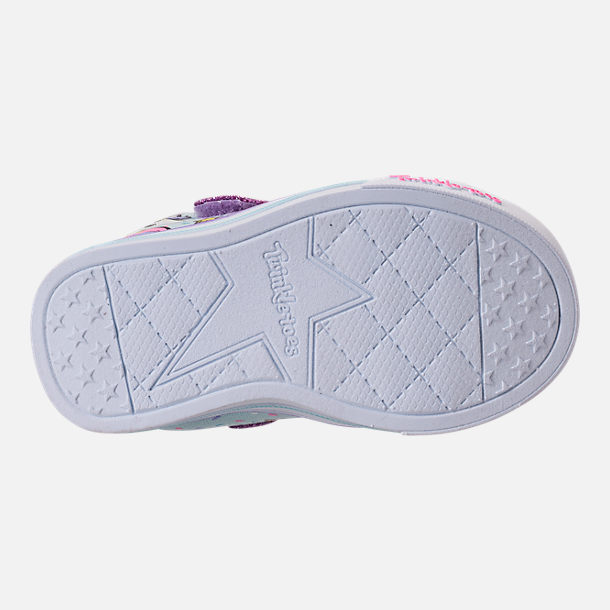 Bottom view of Girls' Toddler Skechers Twinkle Toes: Shuffles - Sparkle Lite Light-up Hook-and-Loop Casual Shoes in Light Blue/Multi Unicorn