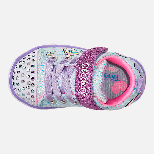 Top view of Girls' Toddler Skechers Twinkle Toes: Shuffles - Sparkle Lite Light-up Hook-and-Loop Casual Shoes in Light Blue/Multi Unicorn