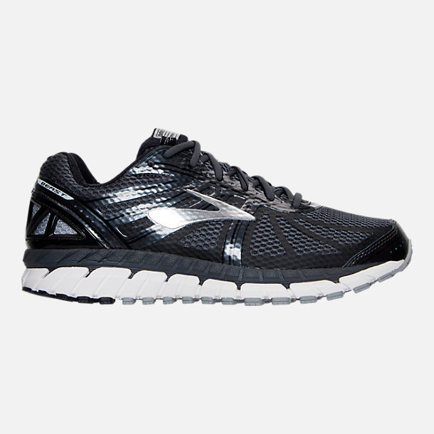 Right view of Men's Brooks Beast Wide Width 4E Running Shoes in Anthracite/Black/Silver