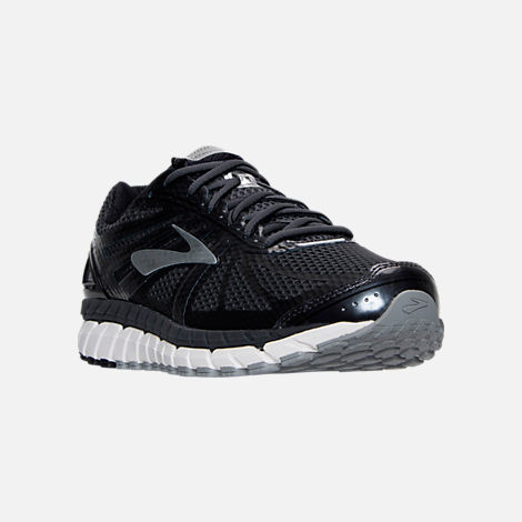 Three Quarter view of Men's Brooks Beast Wide Width 4E Running Shoes in Anthracite/Black/Silver