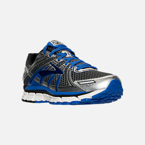 Three Quarter view of Men's Brooks Adrenaline GTS 17 Wide Running Shoes in Anthracite/Electric Brooks Blue/Silver