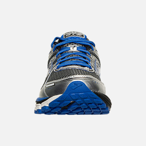 Front view of Men's Brooks Adrenaline GTS 17 Wide Running Shoes in Anthracite/Electric Brooks Blue/Silver