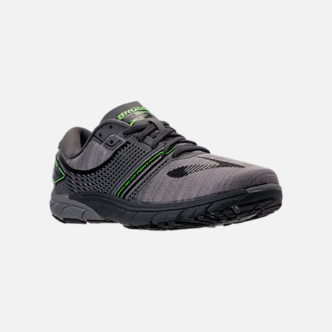 Three Quarter view of Men's Brooks Purecadence 6 Running Shoes in Castle Rock/Black/Green Flash
