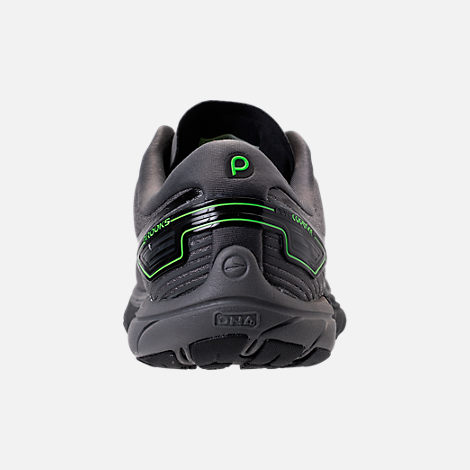 Back view of Men's Brooks Purecadence 6 Running Shoes in Castle Rock/Black/Green Flash