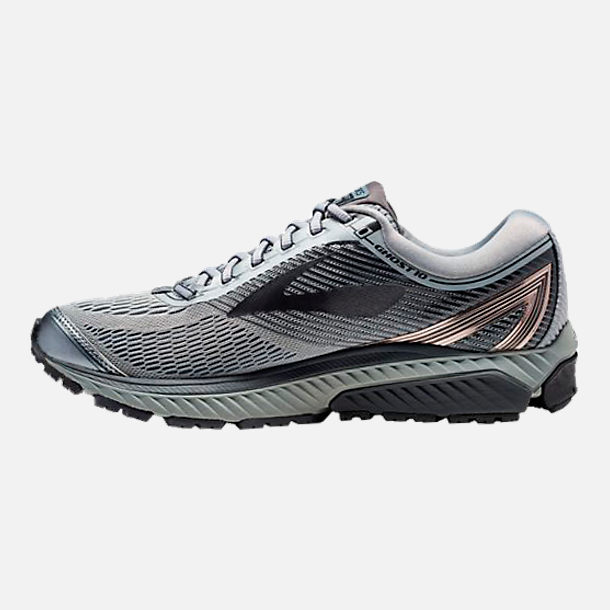 Left view of Men's Brooks Ghost 10 Running Shoes in Primer Grey/Metallic Charcoal/Ebony
