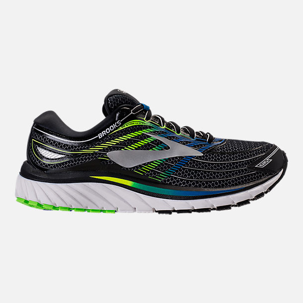 Right view of Men's Brooks Glycerin 15 Running Shoes in Black/Electric Blue/Green