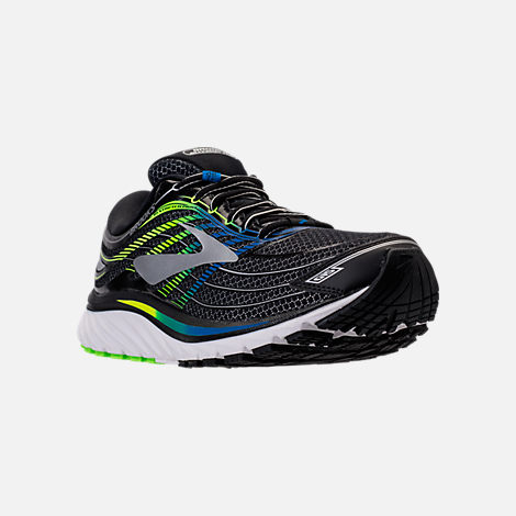 Three Quarter view of Men's Brooks Glycerin 15 Running Shoes in Black/Electric Blue/Green