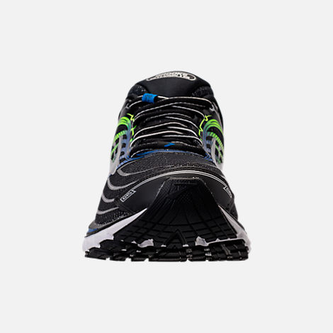 Front view of Men's Brooks Glycerin 15 Running Shoes in Black/Electric Blue/Green