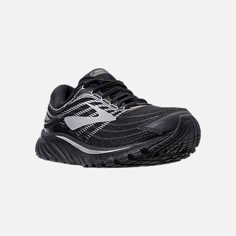 Three Quarter view of Men's Brooks Glycerin 15 Running Shoes in Black/Silver/Grey