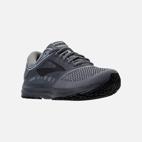 Three Quarter view of Men's Brooks Revel Running Shoes in Grey/Ebony/Black