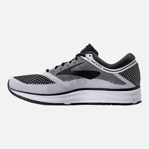 Left view of Men's Brooks Revel Running Shoes in White/Anthracite/Black