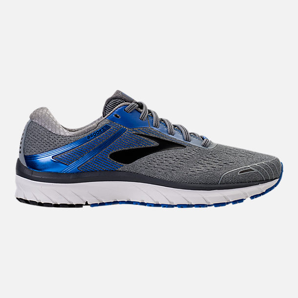 Right view of Men's Brooks Adrenaline GTS 18 Wide Width Running Shoes in Grey/Blue/Black
