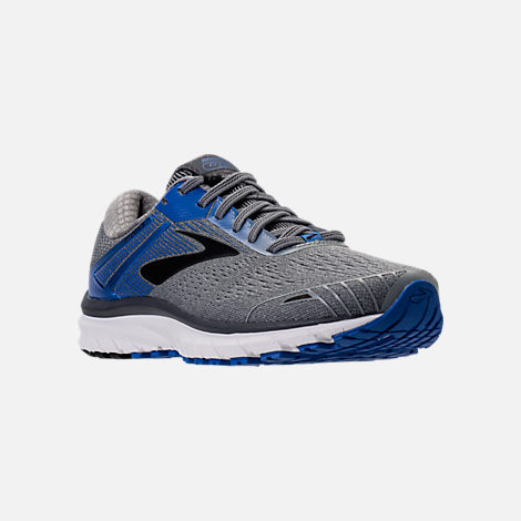 Three Quarter view of Men's Brooks Adrenaline GTS 18 Wide Width Running Shoes in Grey/Blue/Black