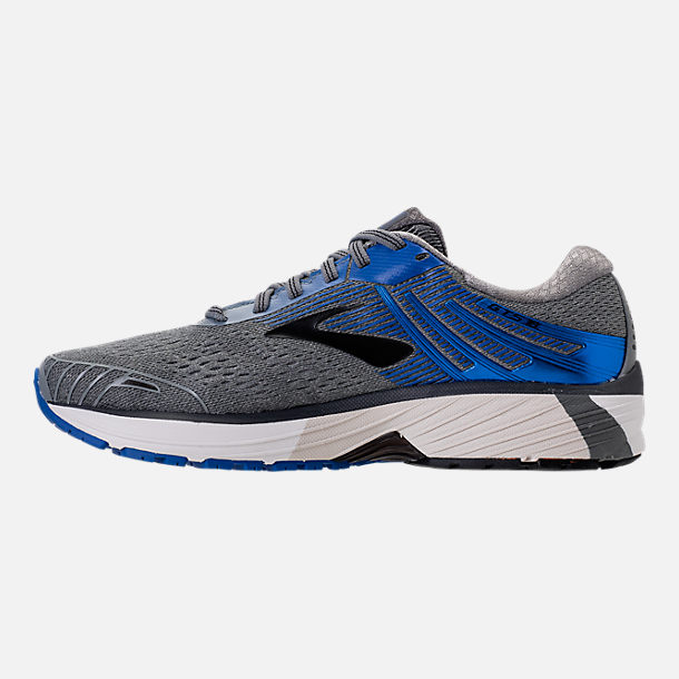 Left view of Men's Brooks Adrenaline GTS 18 Wide Width Running Shoes in Grey/Blue/Black