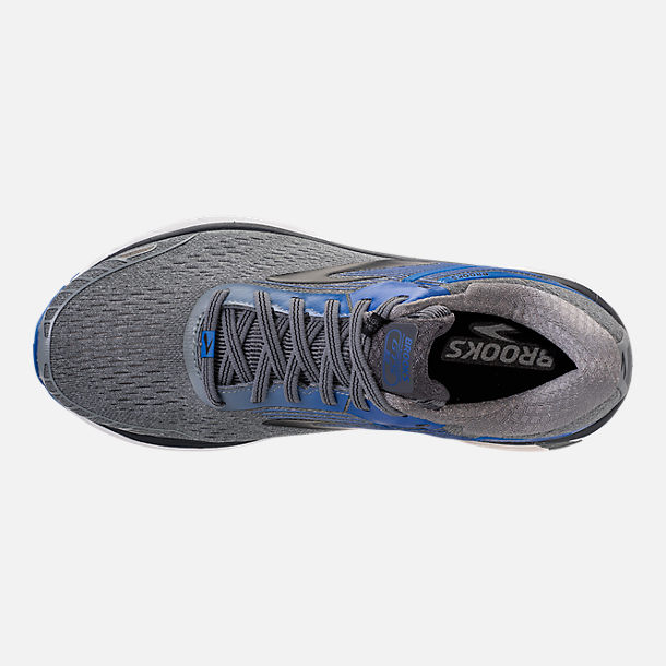 Top view of Men's Brooks Adrenaline GTS 18 Wide Width Running Shoes in Grey/Blue/Black