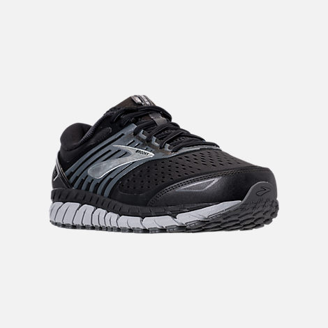 Three Quarter view of Men's Brooks Beast '18 Width Width 4E Running Shoes in Black/Grey/Silver