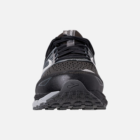 Front view of Men's Brooks Beast '18 Width Width 4E Running Shoes in Black/Grey/Silver