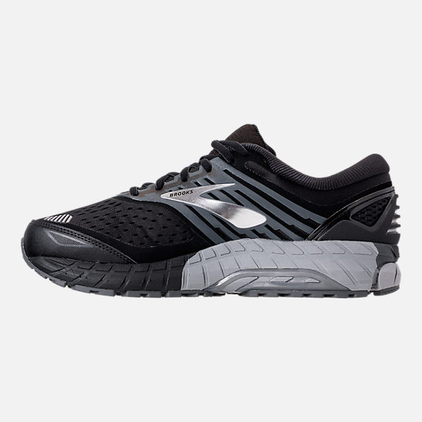 Left view of Men's Brooks Beast '18 Width Width 4E Running Shoes in Black/Grey/Silver