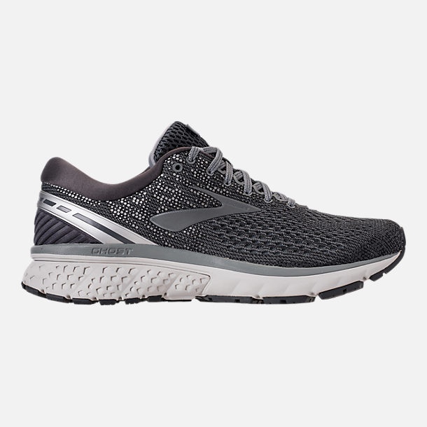 Right view of Men's Brooks Ghost 11 Running Shoes in Ebony/Grey/Silver