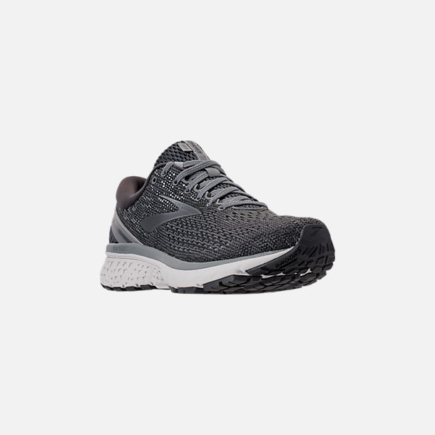 Three Quarter view of Men's Brooks Ghost 11 Running Shoes in Ebony/Grey/Silver