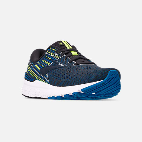 Three Quarter view of Men's Brooks Adrenaline GTS 19 Running Shoes in Black/Blue/Nightlife