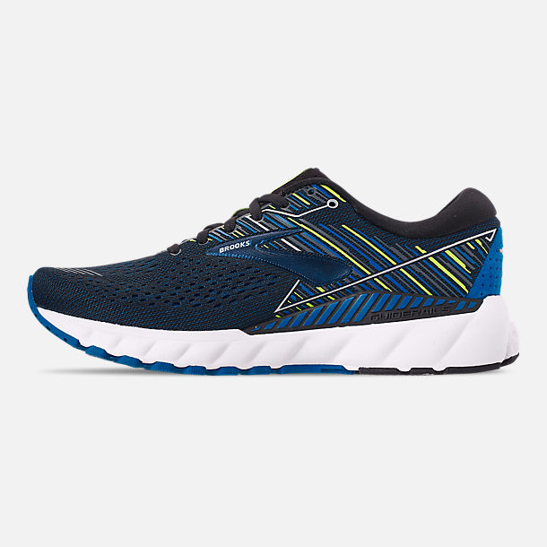 Left view of Men's Brooks Adrenaline GTS 19 Running Shoes in Black/Blue/Nightlife
