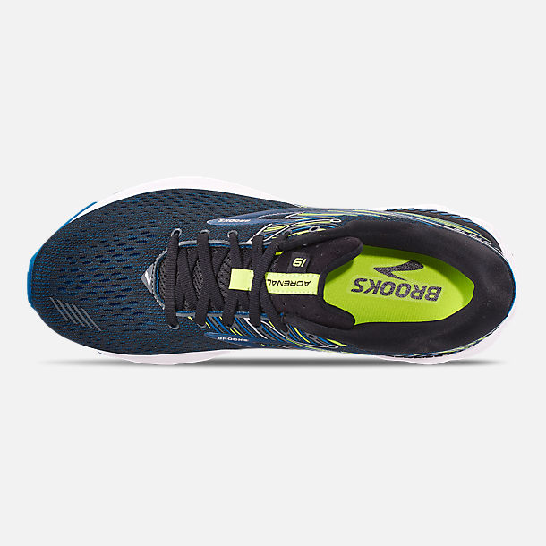Top view of Men's Brooks Adrenaline GTS 19 Running Shoes in Black/Blue/Nightlife