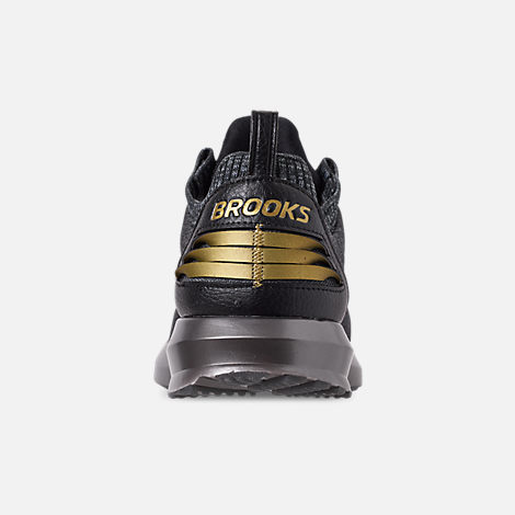 Back view of Men's Brooks Levitate 2 LE Running Shoes in Black/Grey/Gold