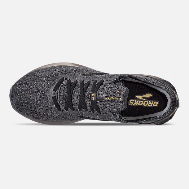 Top view of Men's Brooks Levitate 2 LE Running Shoes in Black/Grey/Gold