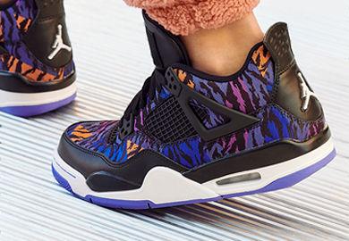 Tiger Print Covers the Girls' Air Jordan 4 Retro 'Rush Violet'