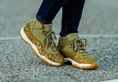 A Closer Look At The Air Jordan Retro 11 'Olive Lux' For The Ladies