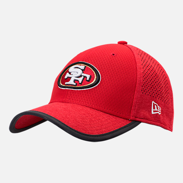 Front view of New Era San Francisco 49ers NFL Training Mesh 39THIRTY Flex Hat in Team Colors