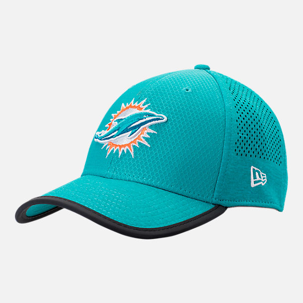 Front view of New Era Miami Dolphins NFL Training Mesh 39THIRTY Flex Hat in Team Colors