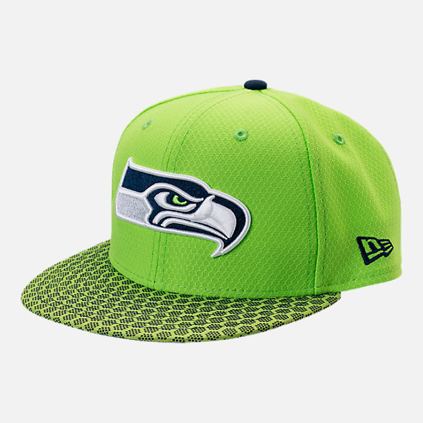 Front view of New Era Seattle Seahawks NFL Sideline 9FIFTY Snapback Hat in Team Colors