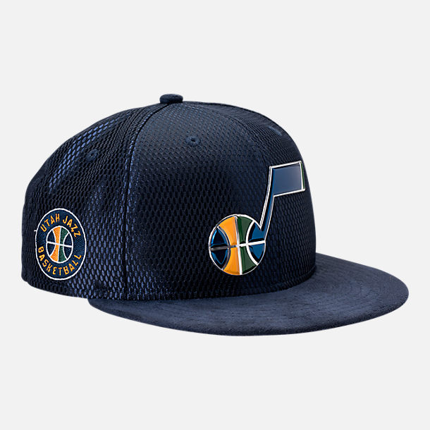 Front view of New Era Utah Jazz NBA 2017 Draft Official On Court Collection 9FIFTY Snapback Hat in Team Colors