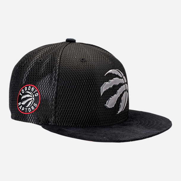 Front view of New Era Toronto Raptors NBA 2017 Draft Official On Court Collection 9FIFTY Snapback Hat in Team Colors