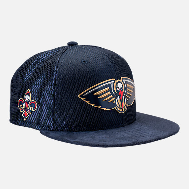 Front view of New Era New Orleans Pelicans NBA 2017 Draft Official On Court Collection 9FIFTY Snapback Hat in Team Colors