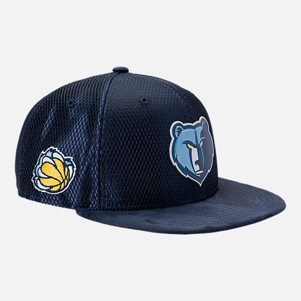 Front view of New Era Memphis Grizzlies NBA 2017 Draft Official On Court Collection 9FIFTY Snapback Hat in Team Colors