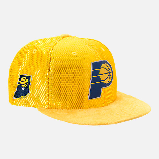 Front view of New Era Indiana Pacers NBA 2017 Draft Official On Court Collection 9FIFTY Snapback Hat in Reverse Team Colors