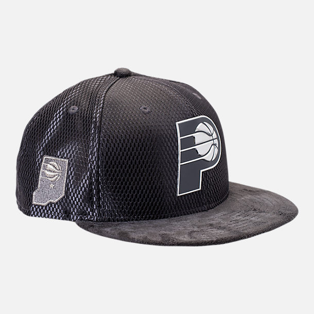Front view of New Era Indiana Pacers NBA 2017 Draft Official On Court Collection 9FIFTY Snapback Hat in Graphite/Silver