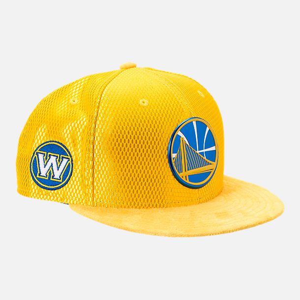 Front view of New Era Golden State Warriors NBA 2017 Draft Official On Court Collection 9FIFTY Snapback Hat in Reverse Team Colors